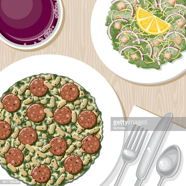 overhead view of a dinner table - broad bean stock illustrations, clip art, cartoons, & icons