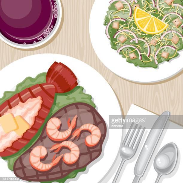 夕食のテーブルのオーバーヘッドがビュー - エビ料理点のイラスト素材/クリップアート素材/マンガ素材/アイコン素材