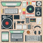 Overhead View of a Disk Jockey's Desk Space