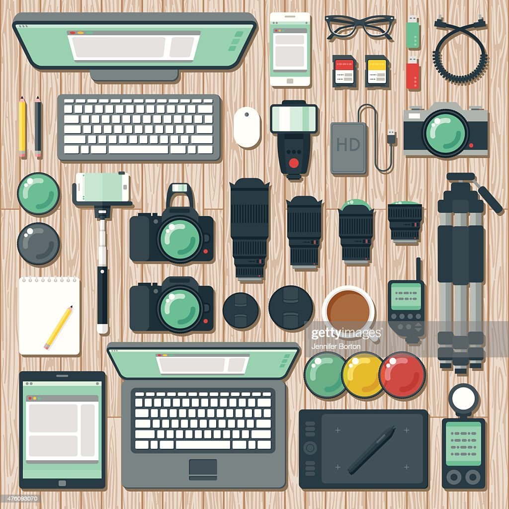 Overhead View of a Photographer's Desk Space : stock illustration