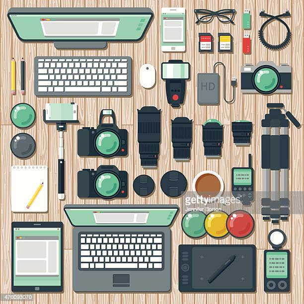 overhead view of a photographer's desk space - camera tripod stock illustrations, clip art, cartoons, & icons