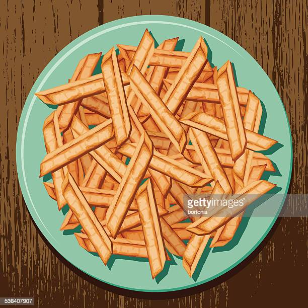 overhead view of a plate of french fries - gourmet food stock illustrations, clip art, cartoons, & icons