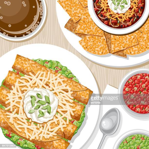 overhead view of appetizers - mexican food stock illustrations, clip art, cartoons, & icons