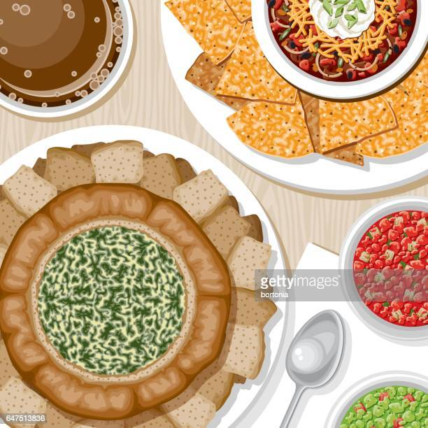 overhead view of appetizers - dipping stock illustrations, clip art, cartoons, & icons