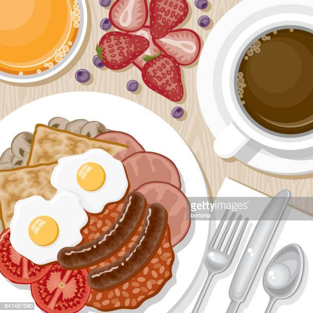 overhead view of breakfast foods - baked beans stock illustrations, clip art, cartoons, & icons