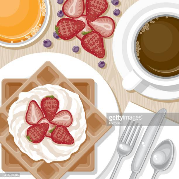 overhead view of breakfast foods - waffle stock illustrations, clip art, cartoons, & icons