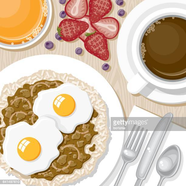overhead view of breakfast foods - beef stew stock illustrations, clip art, cartoons, & icons
