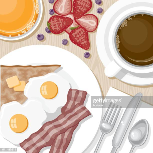Overhead View of Breakfast Foods