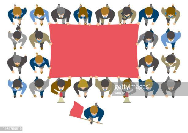 overhead view of business people protesting with blank flag - marching stock illustrations