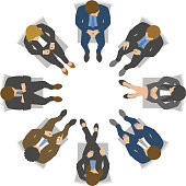 Overhead view of business team meeting