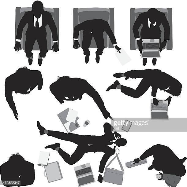 Overhead view of businessmen