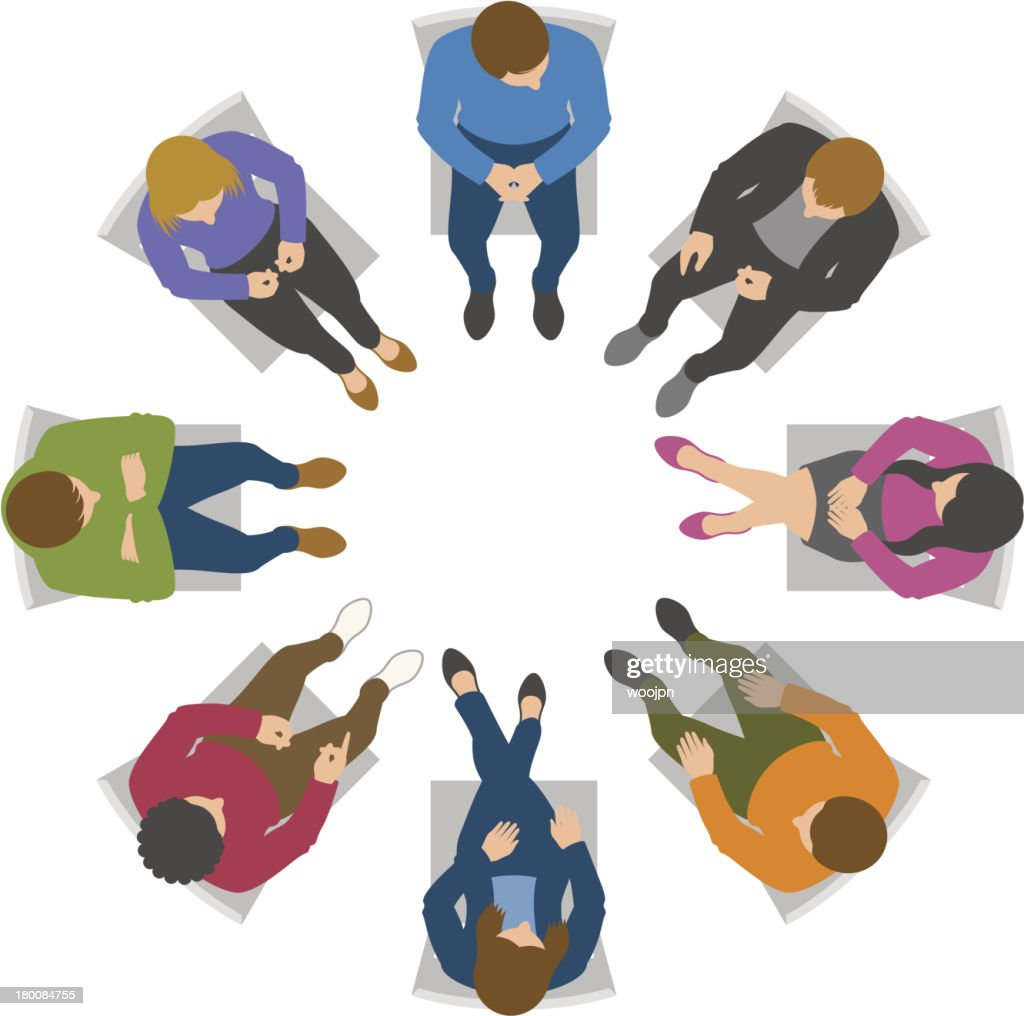 Overhead view of group discussion : stock illustration