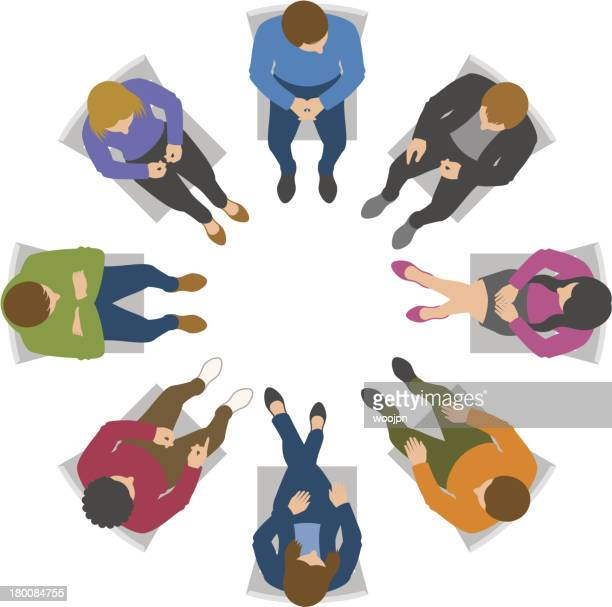 Overhead view of group discussion