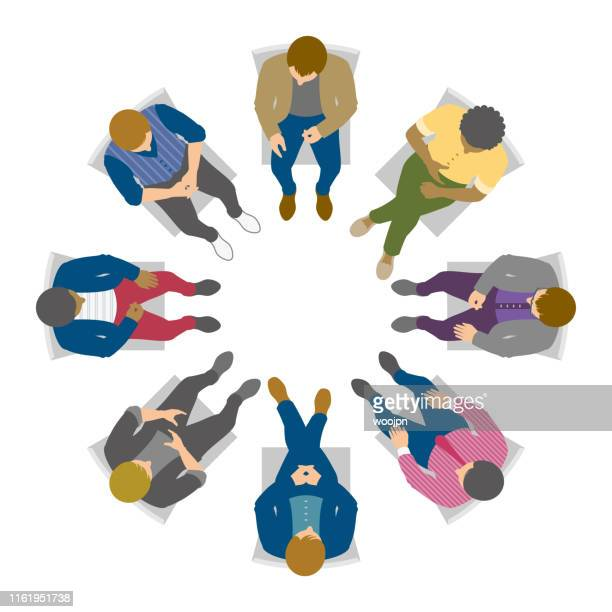 overhead view of men in circle discussion - above stock illustrations