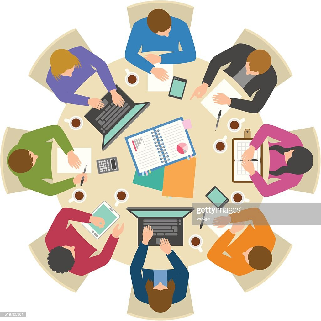 Overhead view of people discussing at round table : Stock Illustration