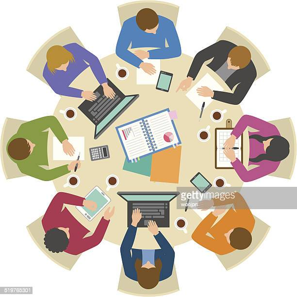 overhead view of people discussing at round table - conference table stock illustrations, clip art, cartoons, & icons