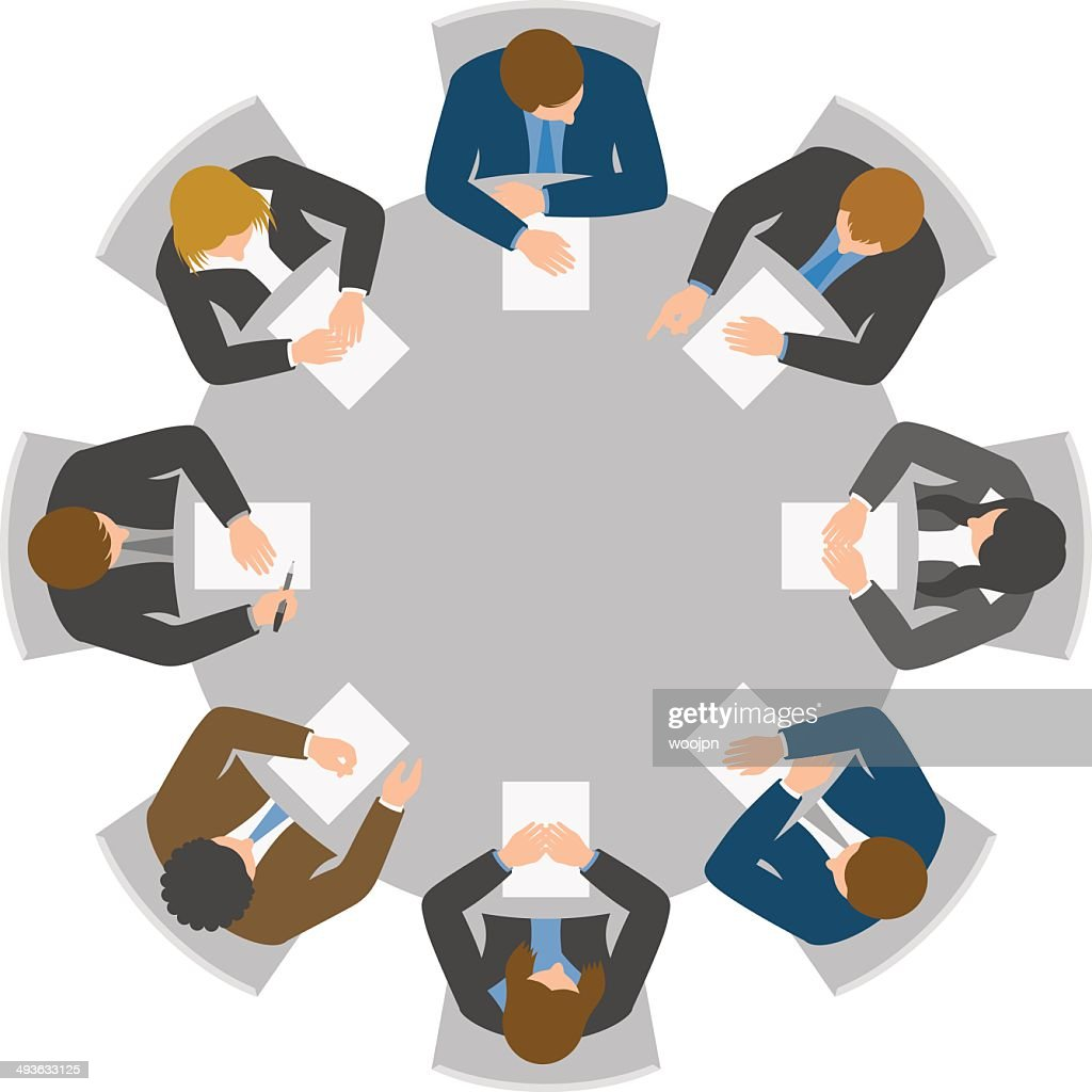 Overhead view of round table meeting : stock illustration