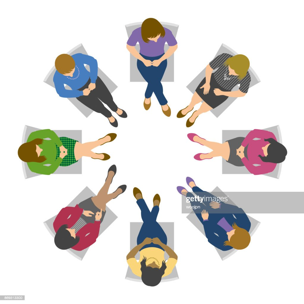 Overhead view of women in circle discussion : stock illustration