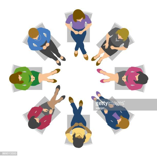 overhead view of women in circle discussion - only women stock illustrations, clip art, cartoons, & icons