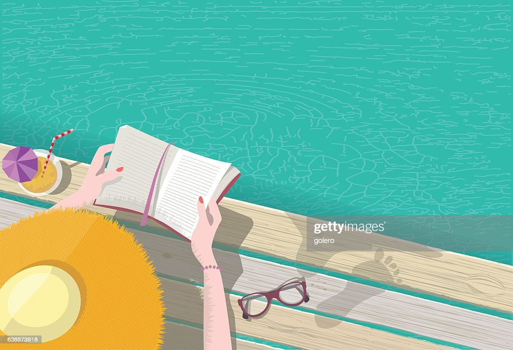 overhead view on woman with hat reading at pool : stock illustration