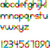 overlapping colorful rounded line font - bold