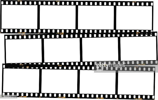 overlapping film strips - colour - composite image stock illustrations