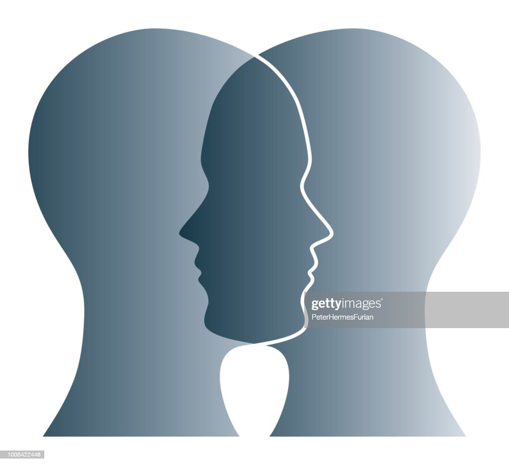 Overlapping gray silhouettes of two heads over white