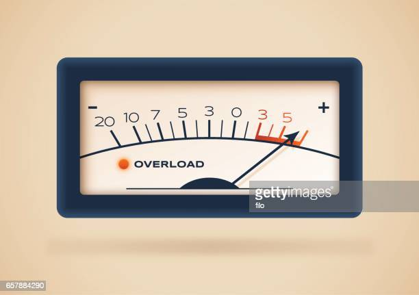 overload retro gauge - meter instrument of measurement stock illustrations