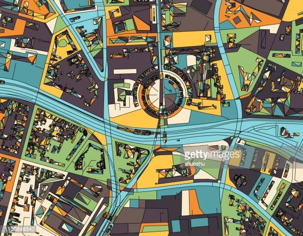 overlook Berlin city structure art illustration.near Mehringplatz.