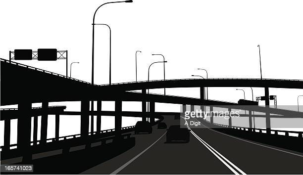 overpassing  vector silhouette - overpass road stock illustrations