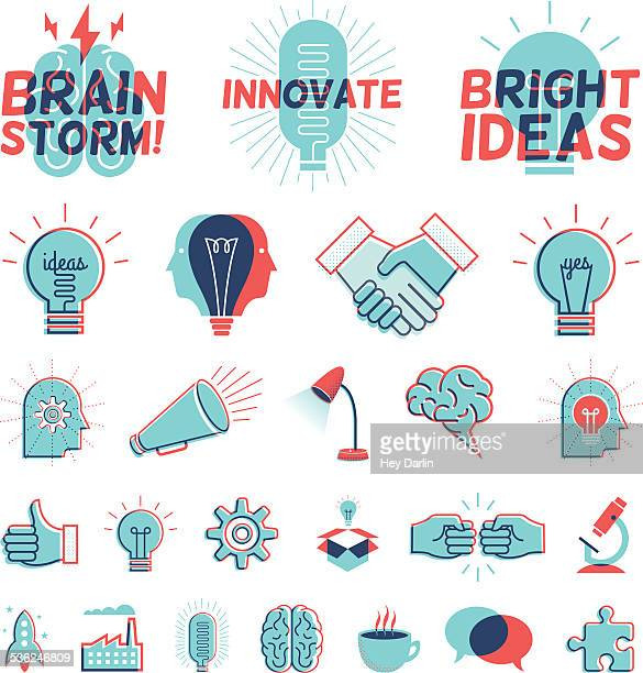 stockillustraties, clipart, cartoons en iconen met overprint graphics - bright ideas - idee