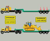 Oversize load truck and trailers, isolated, vector