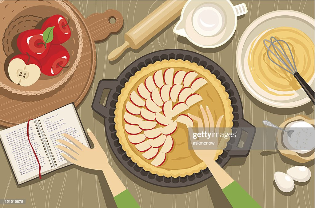 Overview illustration of hands baking an apple pie : stock illustration