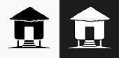 Overwater Bungalow Icon on Black and White Vector Backgrounds