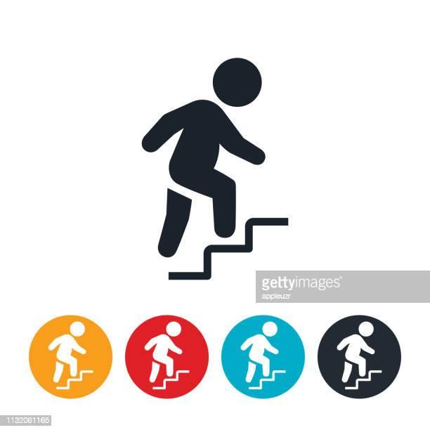 illustrations, cliparts, dessins animés et icônes de icône d'escalier d'escalade enfant en surpoids - élevé