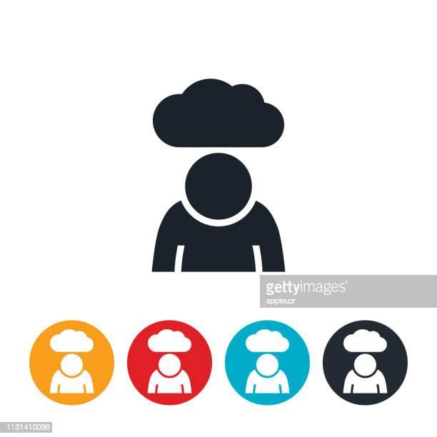 overweight depressed child icon - despair stock illustrations