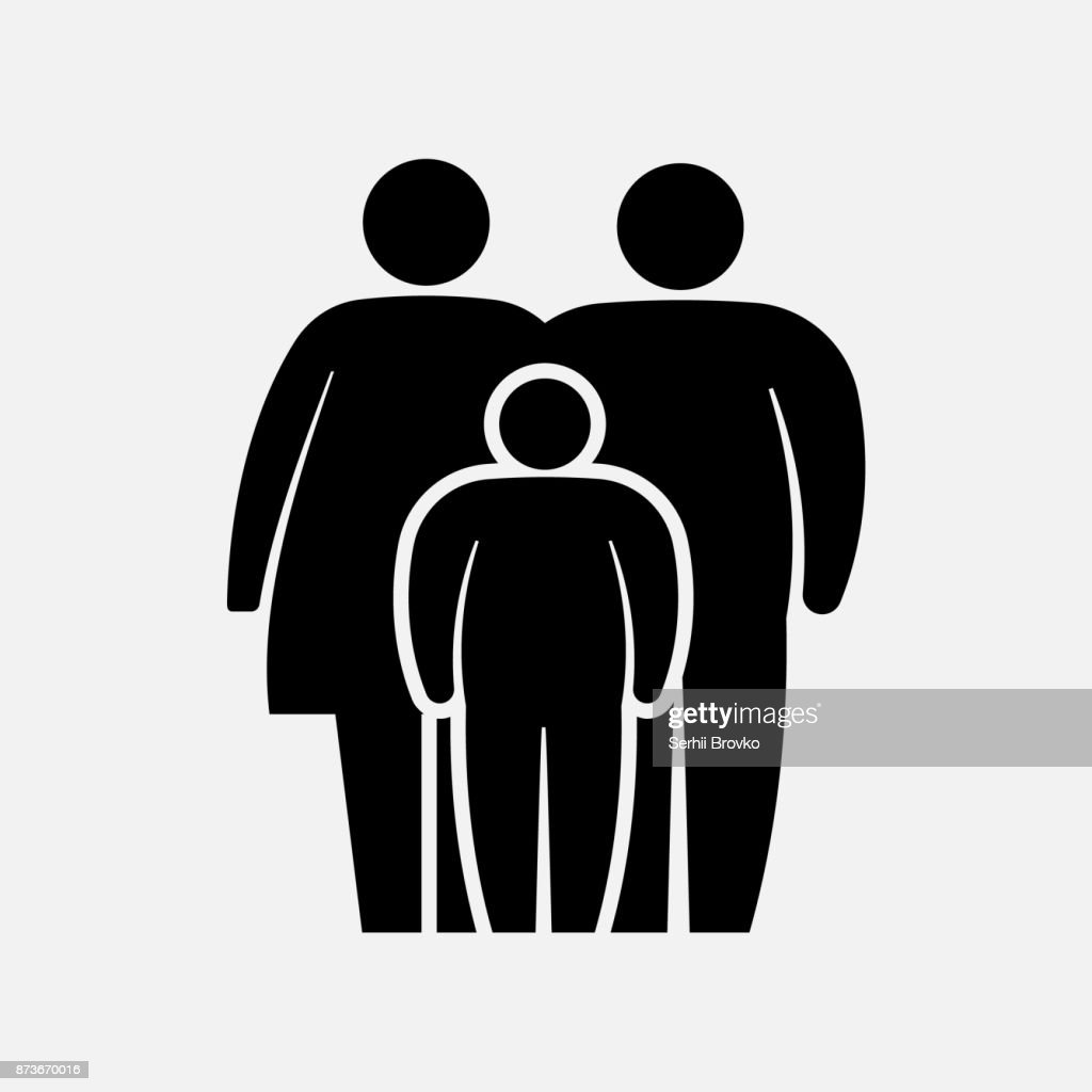Overweight family icon. Fat woman, man, girl and boy. Vector illustration.