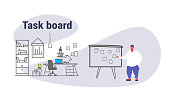 overweight fat man planning weekly meeting schedule on task board with stickers notes to do list casual over size businessman manager modern office interior sketch doodle horizontal