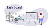 overweight fat woman planning weekly meeting schedule on task board with stickers notes to do list casual over size businesswoman manager modern office interior sketch doodle horizontal