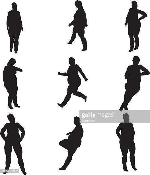 Dick weibliche Silhouette-Kollektion (Vektor-raster