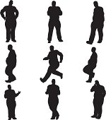 Overweight Male Silhouette Collection (vector+raster)