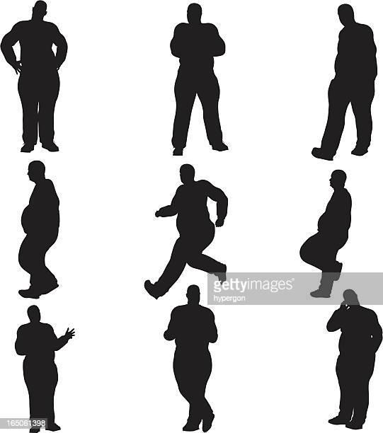 Übergewichtige männliche Silhouette Kollektion (Vektor-raster