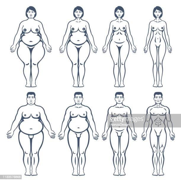 overweight man and woman body silhouettes - fat female cartoon characters stock illustrations