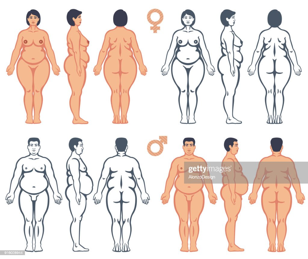 Overweight man and woman vector silhouettes : stock illustration