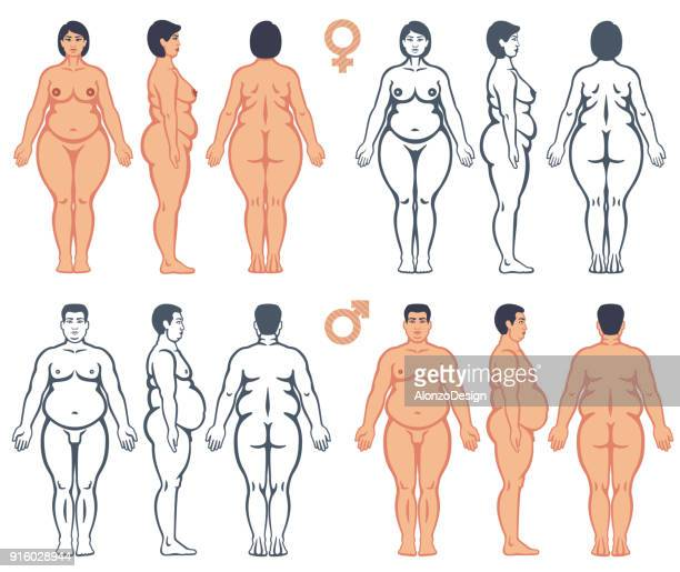 Overweight man and woman vector silhouettes