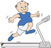 overweight man jogging on a treadmill