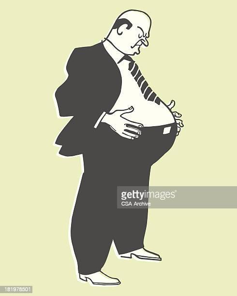 overweight man - balding stock illustrations