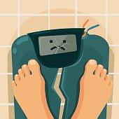 Overweight people. Broken scales