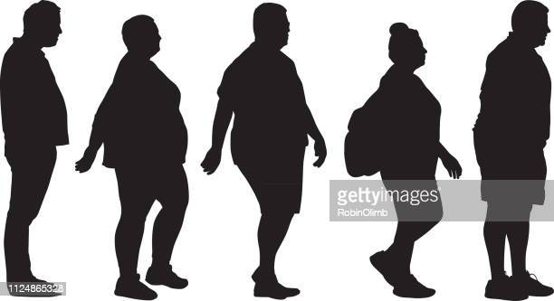 overweight people silhouettes - short hair stock illustrations