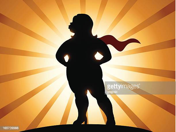 overweight super heroine - fat female cartoon characters stock illustrations